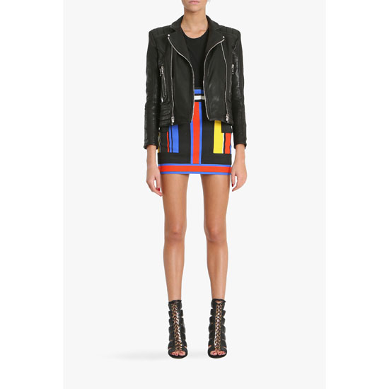 BALMAIN WOMEN MULTICOLOR PRINTED COTTON CANVAS MINI SKIRT
