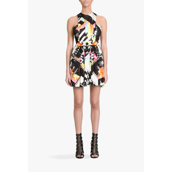 BALMAIN WOMEN PRINTED SILK JERSEY MINI-DRESS