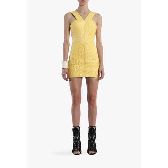 BALMAIN WOMEN RIBBED LEATHER MINI-DRESS