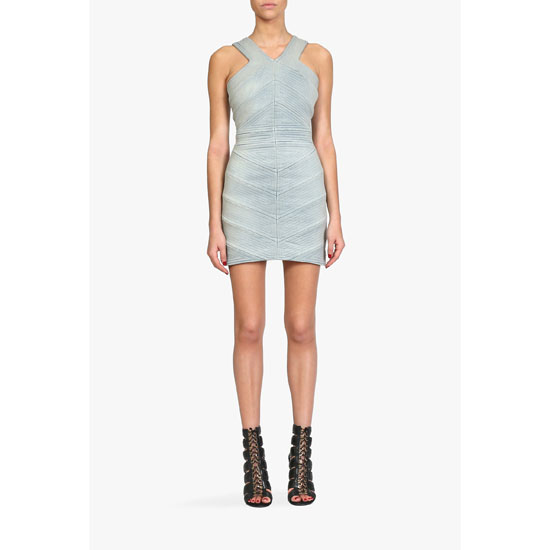 BALMAIN WOMEN VINTAGE STRETCH COTTON-DENIM MINI-DRESS