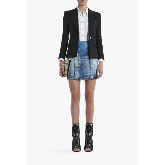 BALMAIN WOMEN VINTAGE STRETCH COTTON-DENIM MINI-SKIRT