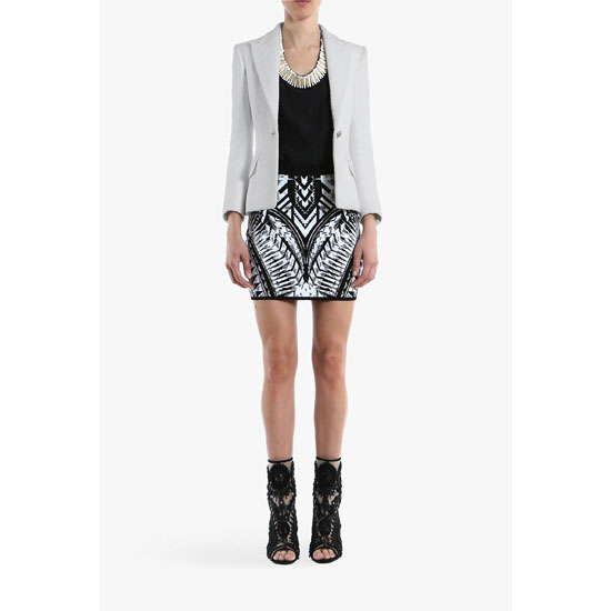 BALMAIN WOMEN KNITTED PRINTED JACQUARD MINI-SKIRT