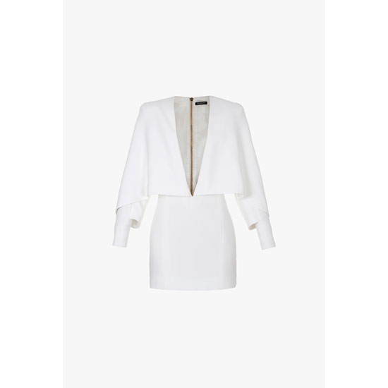 BALMAIN WOMEN PONCHO-INSPIRED CREPE AND VISCOSE MINI-DRESS