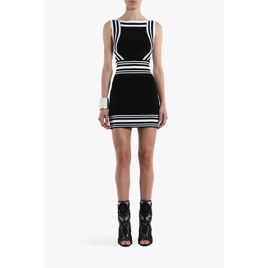 BALMAIN WOMEN CONTRASTED CREPE SLEEVELESS MINI-DRESS