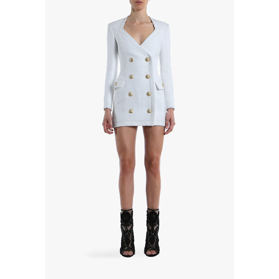BALMAIN WOMEN COTTON-BLEND DOUBLE-BREASTED MINI-DRESS