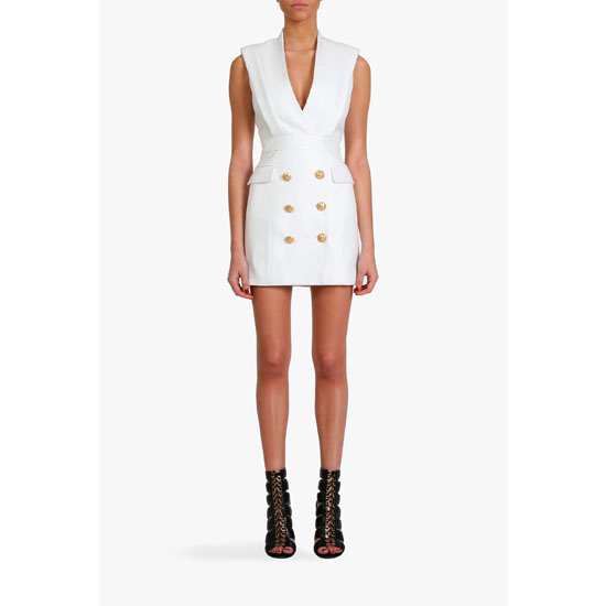 BALMAIN WOMEN SILK-BLEND TUXEDO MINI-DRESS