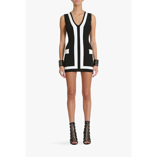 BALMAIN WOMEN TWO TONE STRETCH KNIT VISCOSE MINI DRESS