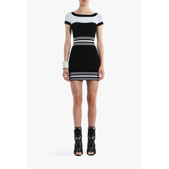 BALMAIN WOMEN CONTRASTED CREPE MINI-DRESS