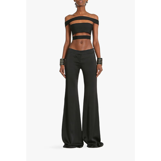 BALMAIN WOMEN SATIN-CREPE FLARED PANTS