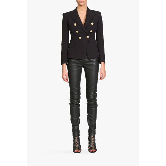 BALMAIN WOMEN RIBBED LEATHER BIKER PANTS