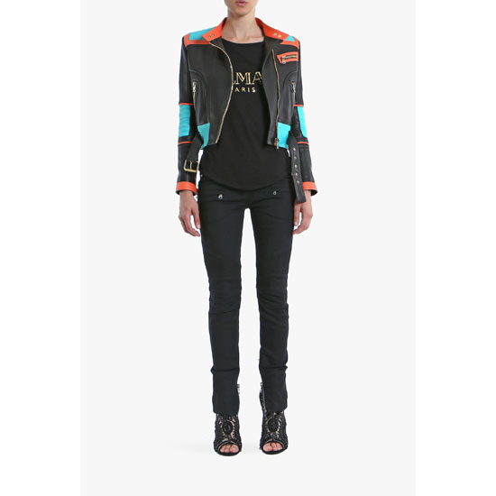 BALMAIN WOMEN RIBBED STRETCH COTTON DENIM BIKER JEANS