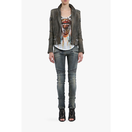 BALMAIN WOMEN WASHED STRETCH COTTON DENIM BIKER JEANS