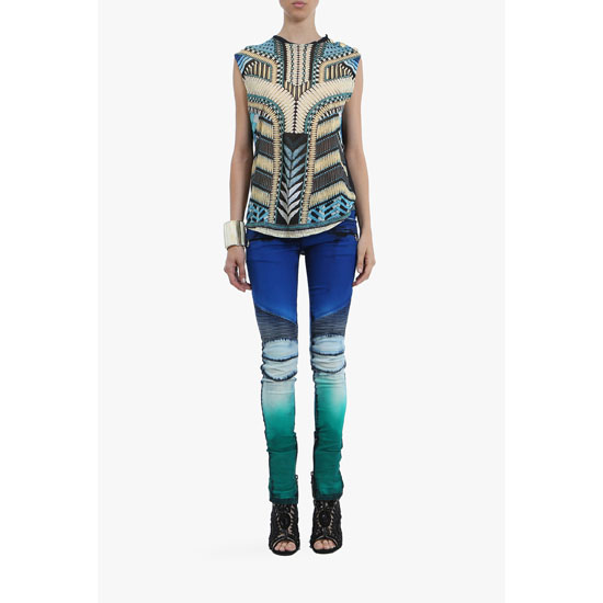 BALMAIN WOMEN TIE AND DYE STRETCH COTTON DENIM BIKER JEANS