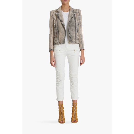 BALMAIN WOMEN STRETCH COTTON DENIM LOW-RISE JEANS