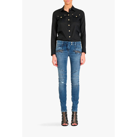 BALMAIN WOMEN DESTROYED STRETCH COTTON BIKER JEANS