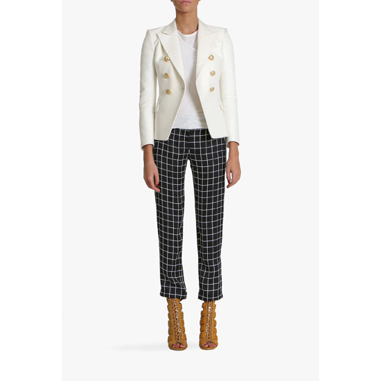 BALMAIN WOMEN CHECKED VISCOSE STRAIGHT-LEG PANTS