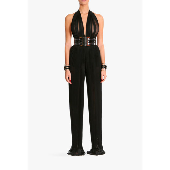 BALMAIN WOMEN SILK MOUSSELINE JUMPSUIT
