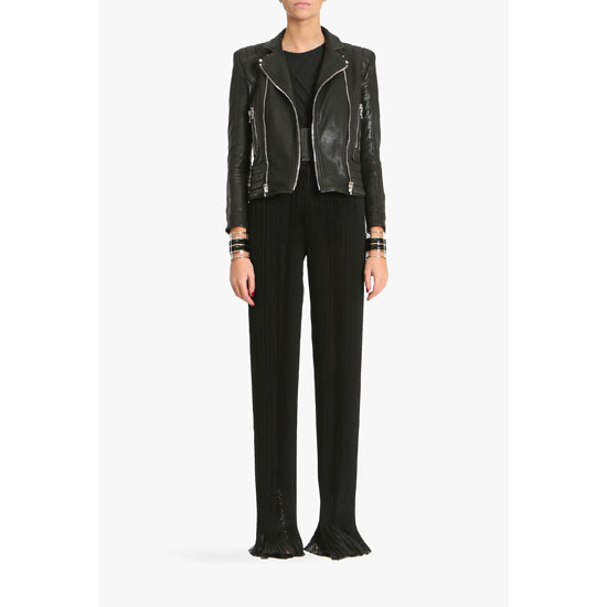 BALMAIN WOMEN SILK MOUSSELINE HIGH-WAISTED FLARED PANTS