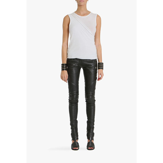 BALMAIN WOMEN STRETCH LEATHER BIKER PANTS
