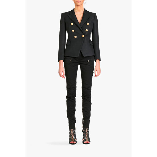 BALMAIN WOMEN STRETCH COTTON DENIM BIKER JEANS