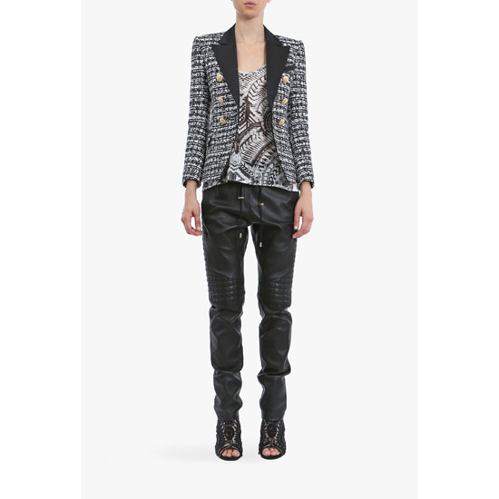 BALMAIN WOMEN QUILTED LEATHER TAPERED PANTS