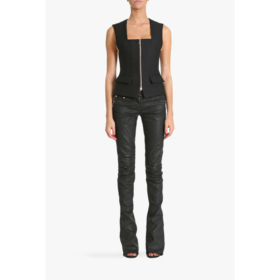 BALMAIN WOMEN LEATHER EFFECT STRETCH COTTON DENIM MID-RISE JEANS