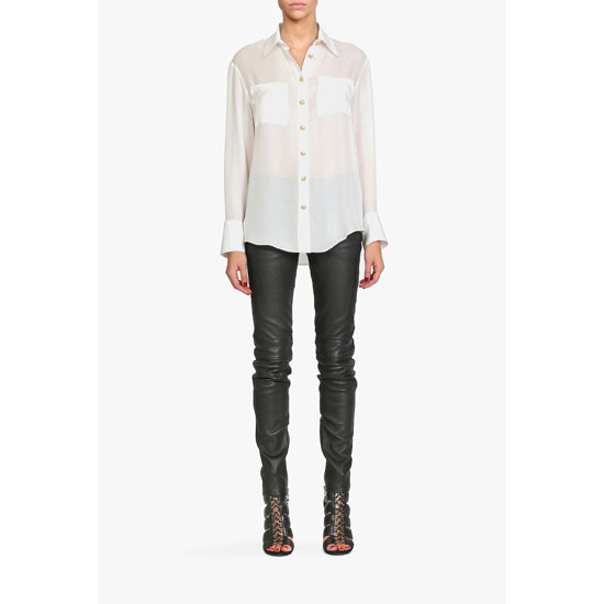 BALMAIN WOMEN FLUID SILK-GEORGETTE SHIRT
