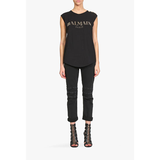 BALMAIN WOMEN CRYSTALS EMBELLISHED LOGO ON SLEEVELESS COTTON T-SHIRT