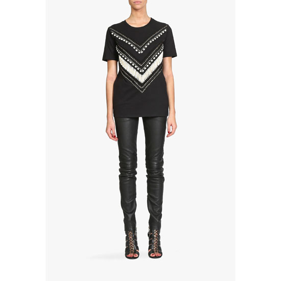 BALMAIN WOMEN BEADED COTTON JERSEY T-SHIRT