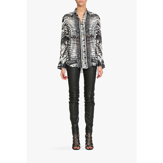 BALMAIN WOMEN TATOO PRINT SILK-GEORGETTE SHIRT