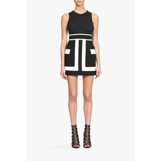 BALMAIN WOMEN TWO TONE PRINTED COTTON CANVAS MINI SKIRT