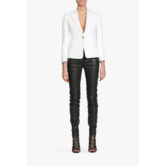 BALMAIN WOMEN COTTON-BLEND ONE BUTTON BLAZER