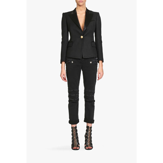 BALMAIN WOMEN JERSEY ONE BUTTON BLAZER