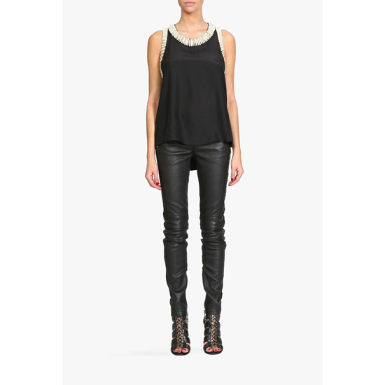 BALMAIN WOMEN BEADED SLEEVELESS SILK TOP