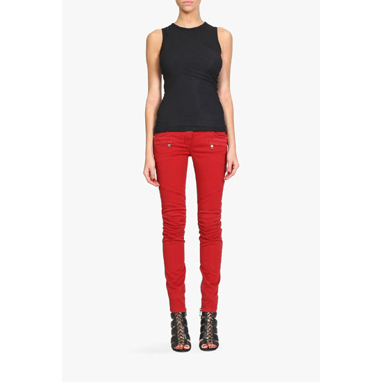 BALMAIN WOMEN OVERDYED STRETCH COTTON DENIM BIKER JEANS