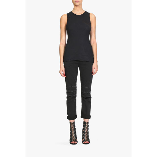 BALMAIN WOMEN WRAP-EFFECT COMBED COTTON TOP