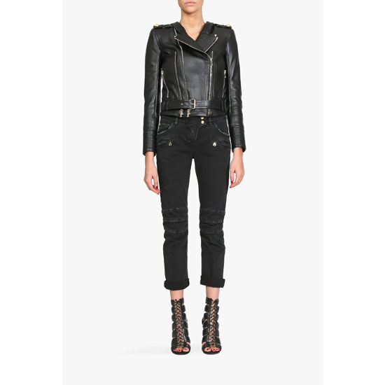 BALMAIN WOMEN LEATHER JACKET WITH RIBBED PANELS