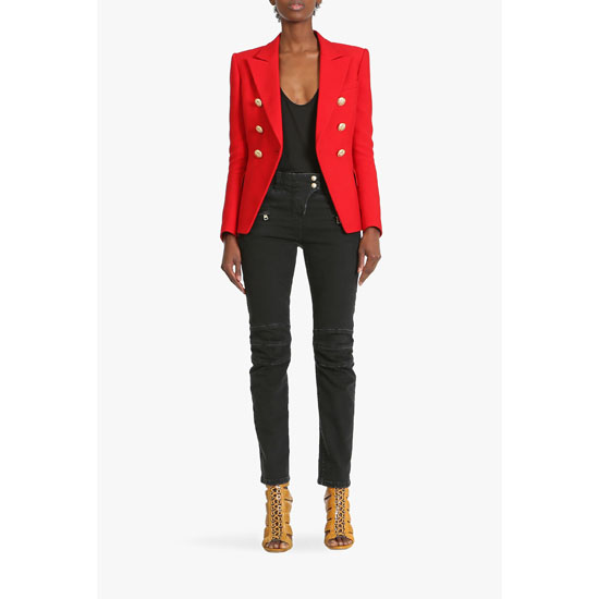 BALMAIN WOMEN DOUBLE-BREASTED VISCOSE AND SILK BLAZER