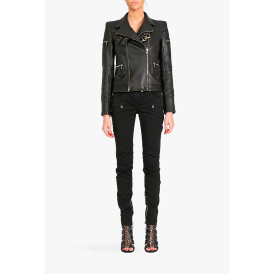 BALMAIN WOMEN RIBBED LEATHER BIKER JACKET