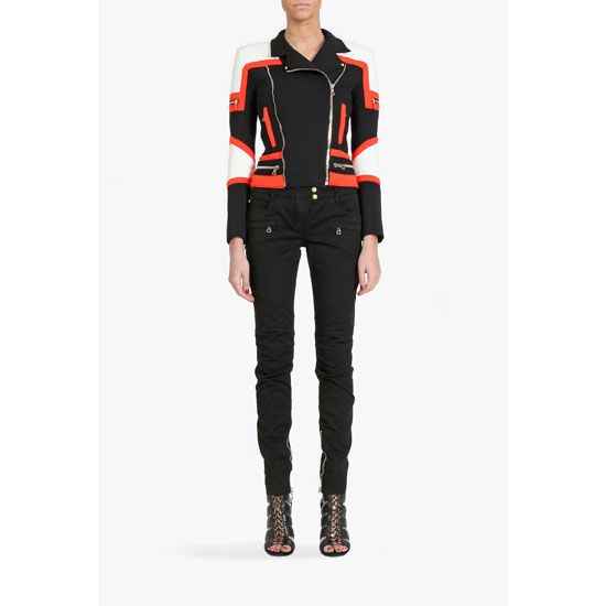 BALMAIN WOMEN CONTRASTED COTTON-FLEECE BIKER JACKET