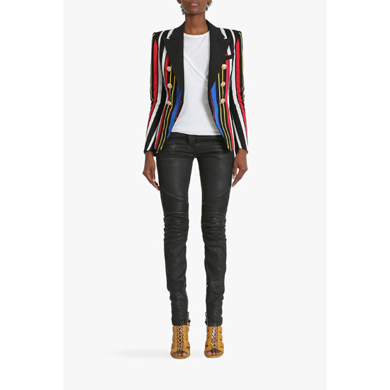BALMAIN WOMEN MULTICOLOR DOUBLE-BREASTED COTTON BLAZER