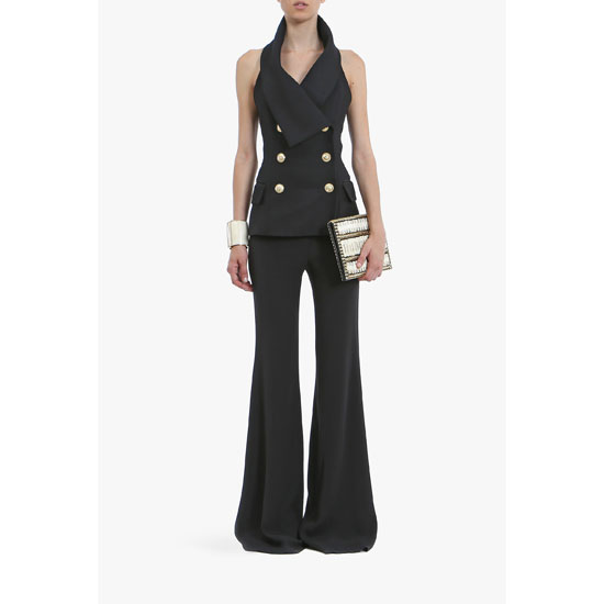 BALMAIN WOMEN SLEEVELESS SILK-BLEND TOP