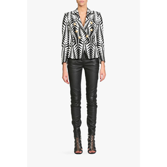 BALMAIN WOMEN COTTON-BLEND JACQUARD BLAZER