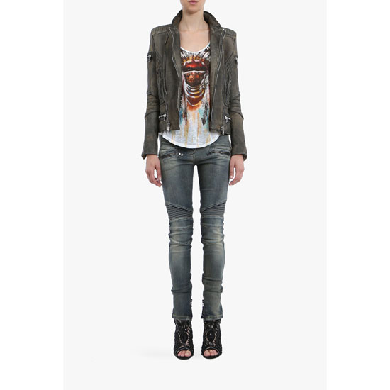 BALMAIN WOMEN TIE AND DYE LEATHER BIKER JACKET