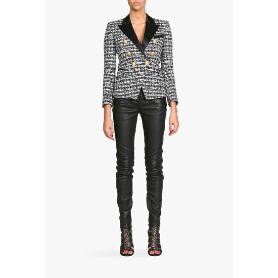 BALMAIN WOMEN DOUBLE-BREASTED TWEED BLAZER
