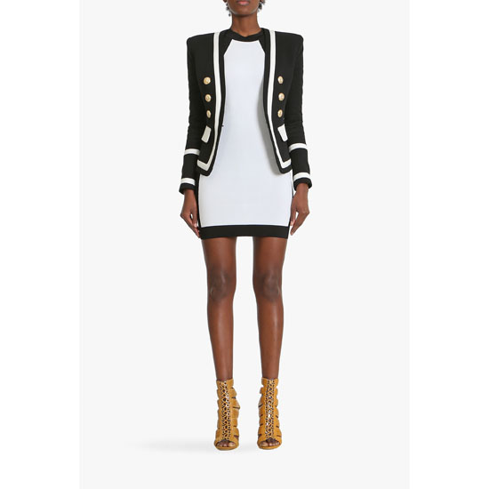 BALMAIN WOMEN TWO TONE DOUBLE-BREASTED COTTON BLAZER