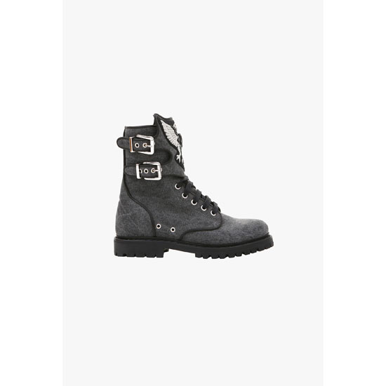 BALMAIN WOMEN EAGLE EMBROIDERED CANVAS RANGER BOOTS