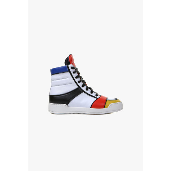 BALMAIN WOMEN COLOR BLOCK NASH LEATHER HIGH-TOP SNEAKERS