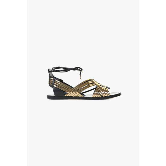 BALMAIN WOMEN MATTI FLAT LEATHER SANDALS