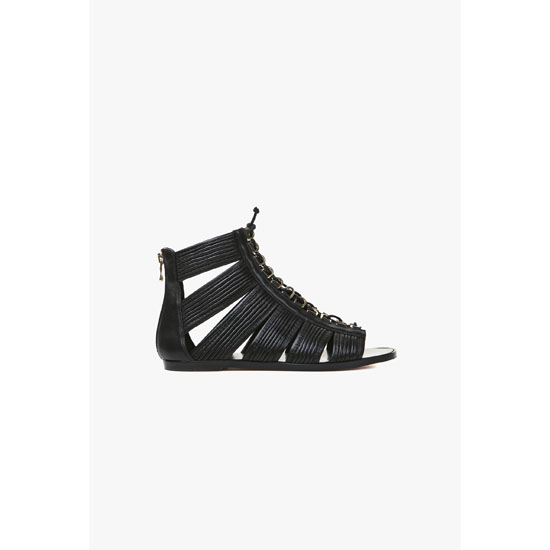 BALMAIN WOMEN HILO FLAT LEATHER SANDALS